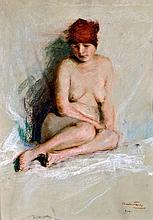 Gyula Bálint (1884-1956) Nude with red headkerchief