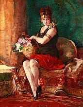 Bertalan Vígh (1890-1946) Model with Bouquet