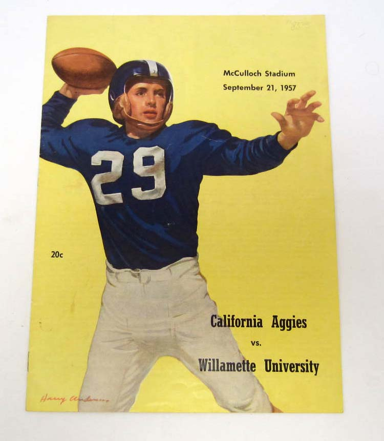 VINTAGE 1957 FOOTBALL PROGRAM - WILLAMETTE vs. CALIFORNIA AGGIES