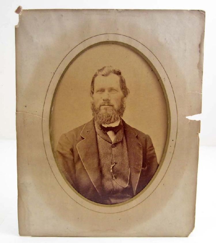 ANTIQUE PHOTO OF A BEARDED MAN IN AN ALBUM PAGE - 8X10