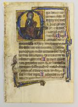 AN ILLUMINATED VELLUM MANUSCRIPT LEAF FROM A PSALTER IN LATIN, WITH AN EIGHT-LINE HISTORIATED