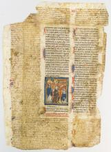 MOST OF A LARGE VELLUM MANUSCRIPT LEAF FROM A GLOSSED