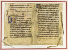 A LARGE VELLUM ILLUMINATED MANUSCRIPT BIFOLIUM FROM A PSALTER IN LATIN, WITH AN HISTORIATED