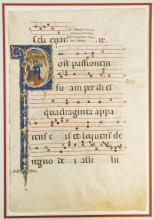 A LARGE VELLUM ILLUMINATED MANUSCRIPT LEAF FROM AN ANTIPHONARY IN LATIN, WITH AN IMMENSE HISTORIATED