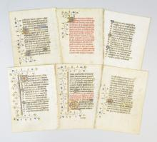 ILLUMINATED VELLUM MANUSCRIPT LEAVES IN FRENCH, OFFERED INDIVIDUALLY, FROM A BOOK OF HOURS.