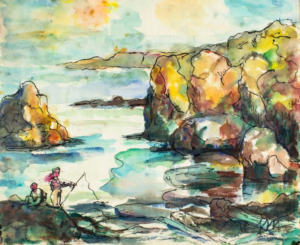 Josephine Mahaffey (TX,1903-1982) watercolor painting