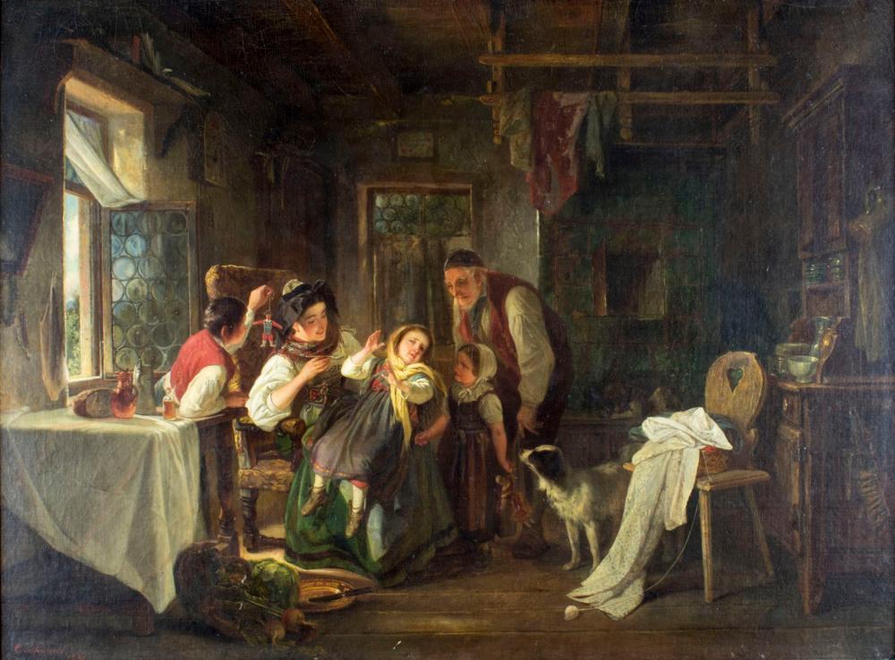 Christian Schussele (PA,NJ,France, 1824-1879) oil painting antique