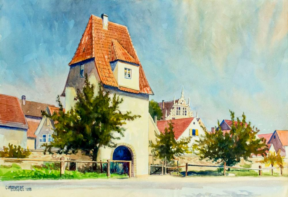 Christian Hadenfeldt (German,1883-1971) watercolor painting