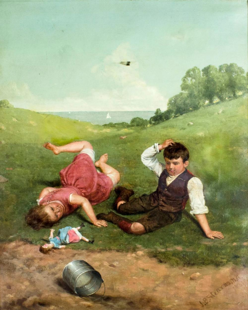 Junius Stearns (VA,VT,1810-1885) oil painting antique