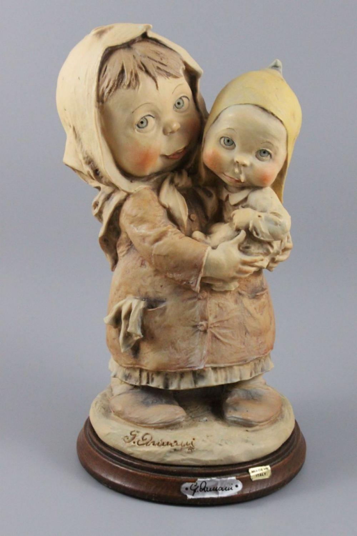 Giuseppe Armani Figurine Sister Holding Brother T