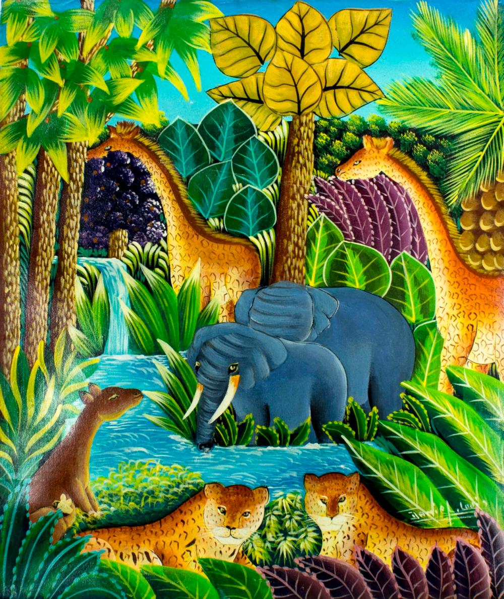 Daniel Louis (Haiti,b 1955) oil painting