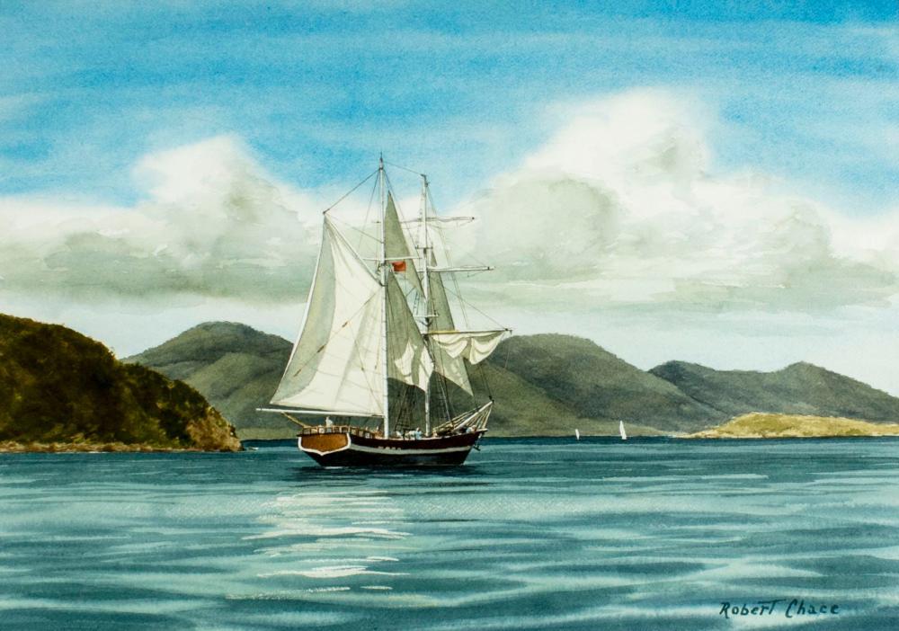 Robert Chace (NY,RI,1920-2006) watercolor painting