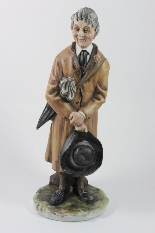 Capodimonte Tiche Figurine Man with Umbrella