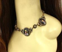 Antique Victorian14kt Two Tone Gold & Enamel Portrait Fancy Design Necklace