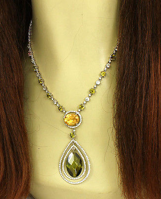 Stunning 4ct Diamonds & Multi-Color Gems 18k White Gold Lariat Necklace