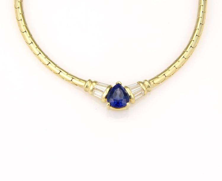 18K Yellow Gold 2.6 ct Pear Shape Sapphire & Diamond Pendant Necklace Solitaire