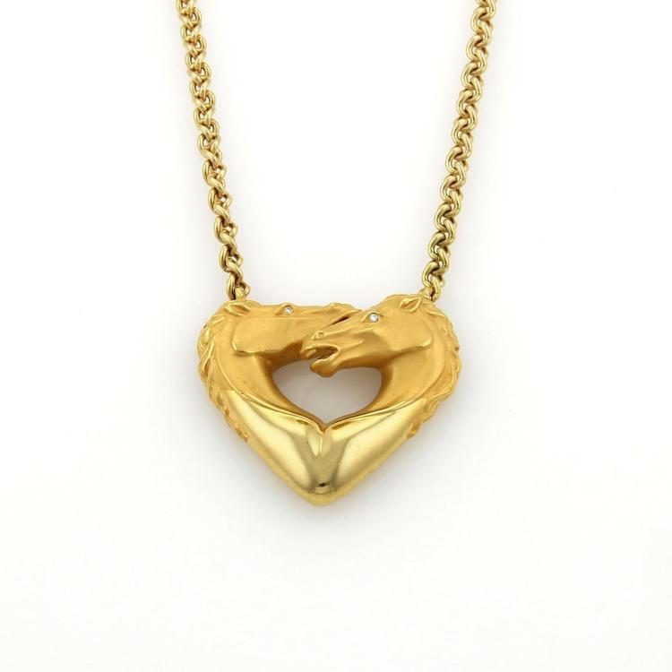 Carrera y Carrera Diamonds 18k Yellow Gold 2 Horse Head Pendant Necklace