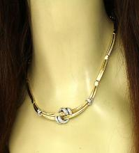 Salvini 18kt Two Tone Gold & Diamonds Love Knot Ladies Necklace