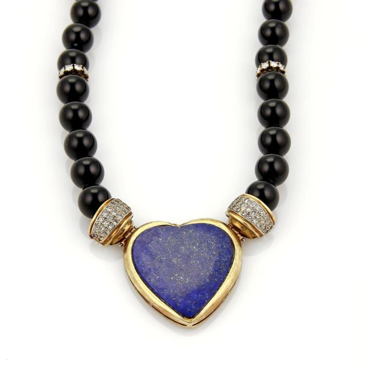 Vintage 2.30 Diamonds Lapis Heart 14k Yellow Gold Onyx Bead Necklace