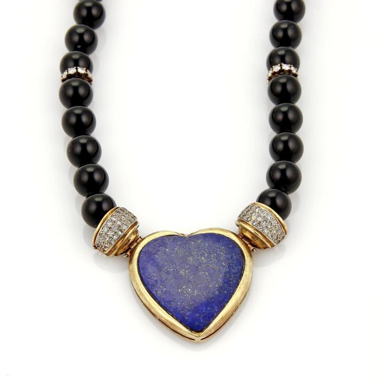 Vintage 2.30 Diamonds Lapis Heart 14k Yellow Gold Onyx Bead Necklace