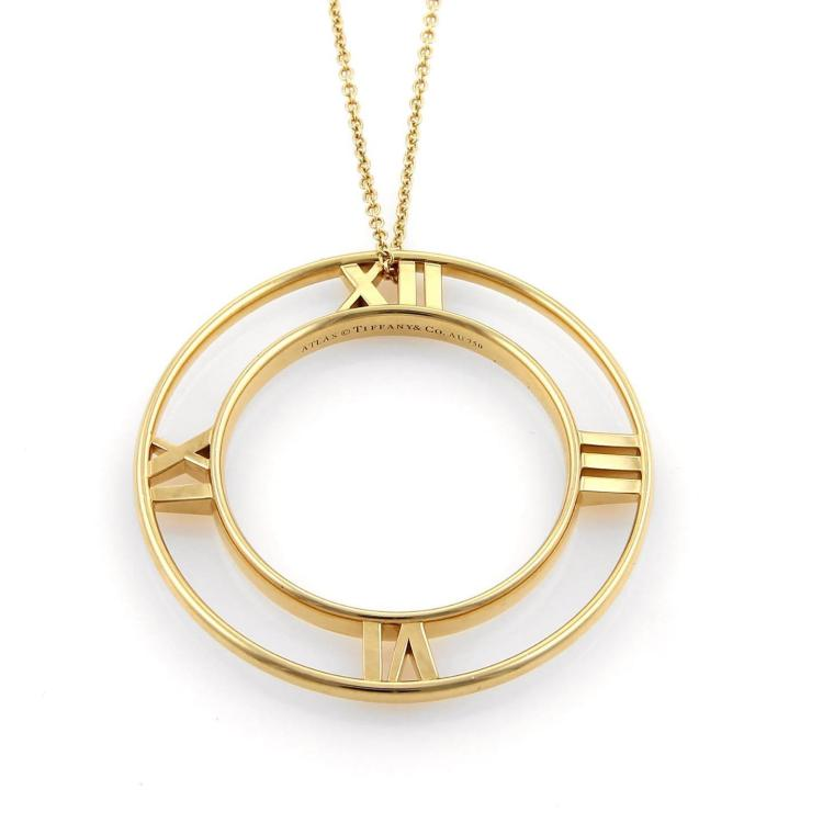 Tiffany & Co. ATLAS 18k Yellow Gold Extra Large Circle Pendant Necklace