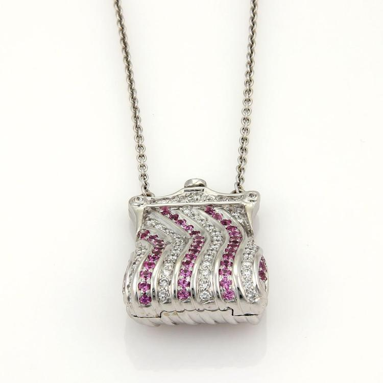 Lumiere 2.90ct Diamonds & Pink Sapphire Purse Pendant 18k WGold Necklace