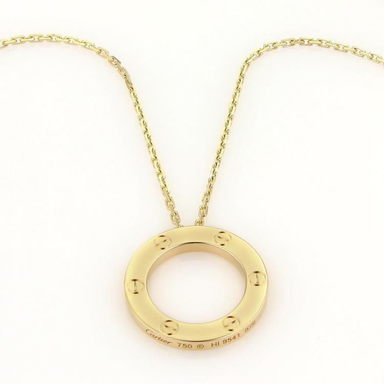 Cartier Love Open Circle 18k Yellow Gold Pendant Necklace