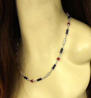 Beautiful 18k White Gold 3ctw Diamond Carnelian & Onyx Long Necklace
