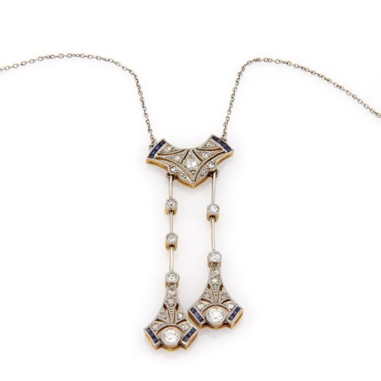 Victorian Platinum & 18k Y/Gold European & Rose Cut Diamond Sapphire Necklace