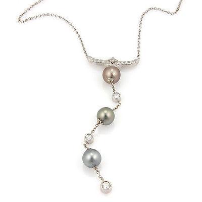 Estate 14K White Gold Diamond & Tahitian Pearl Dangle Pendant Necklace