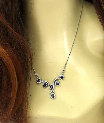 Estate 14k White Gold 6.35ctw Diamond & Sapphire Fancy Necklace
