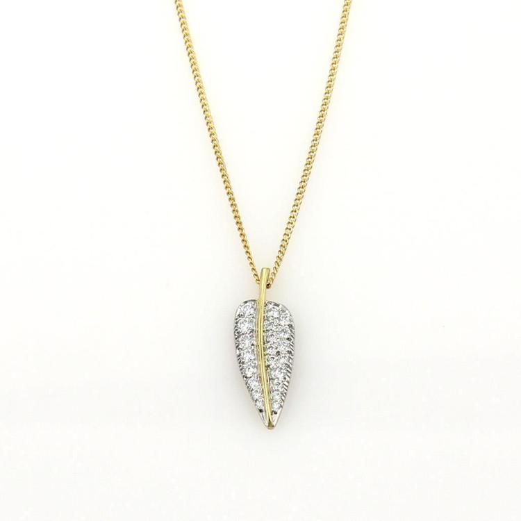 Tiffany & Co. Angela Cummings Diamond Platinum & 18k Gold Leaf Pendant Necklace