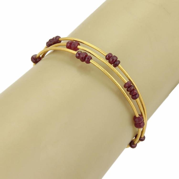 Gurhan Rubies 24k Yellow Gold Triple Wire Cuff Band Bracelet