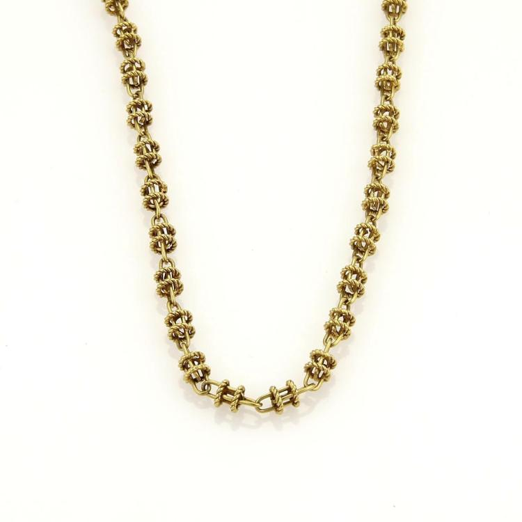 Vintage 18k Yellow Gold  Long Fancy Open Chain Link Necklace 61