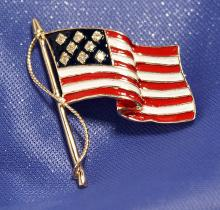 New Charming 14k Gold & Diamond Enameled US Flag Pin/Pendant!