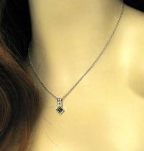 Lovely 14k White Gold .45ctw Diamond & Tsavorite Gemstone Pendant & Chain
