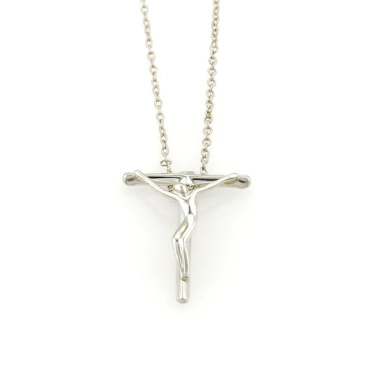 Tiffany & Co.Elsa Peretti 925 Silver Small Crucifix Christ On Cross Necklace