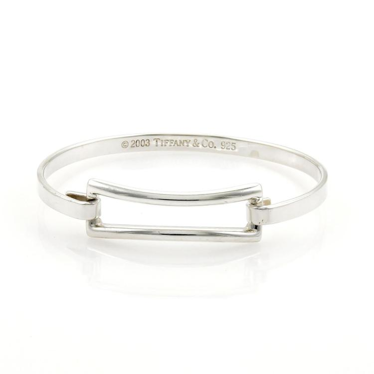 Tiffany & Co. Sterling Silver Open Design Hook Bangle Bracelet
