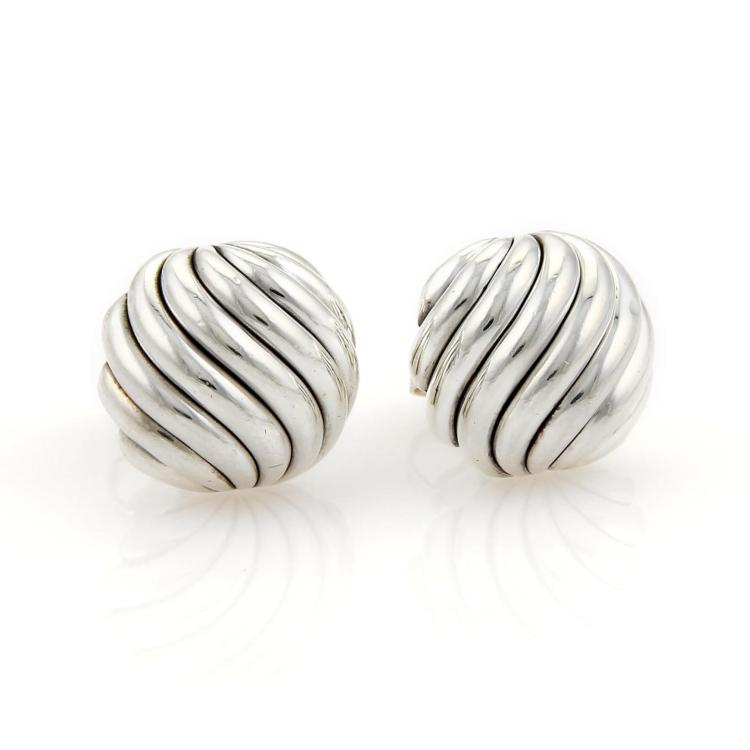 David Yurman Sterling Silver Sculpted Cable Swirl Button Stud Earrings