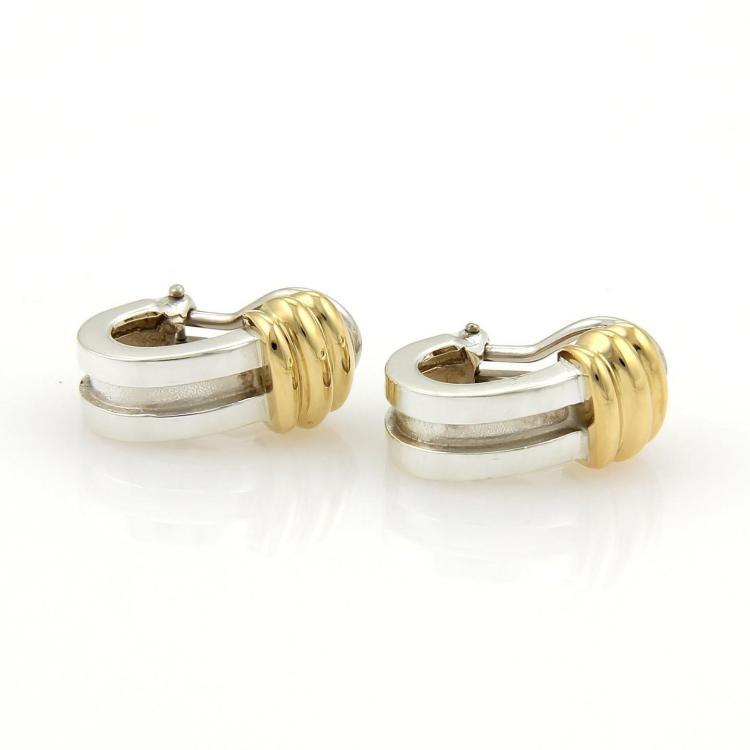 Tiffany & Co. ATLAS Classic 925 Silver & 18k Yellow Gold Clip Hoop Earrings