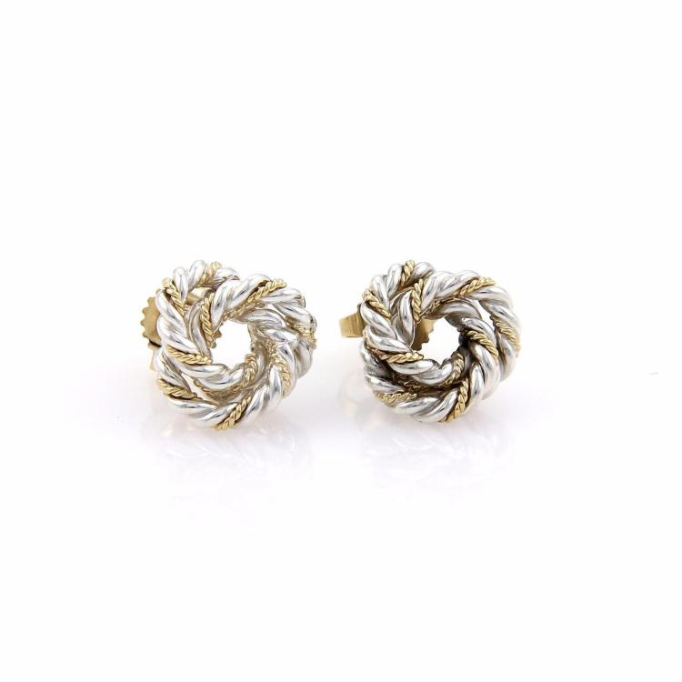 Tiffany & Co. Sterling Silver 18k Yellow Gold Cable Wire Love Knot Stud Earrings