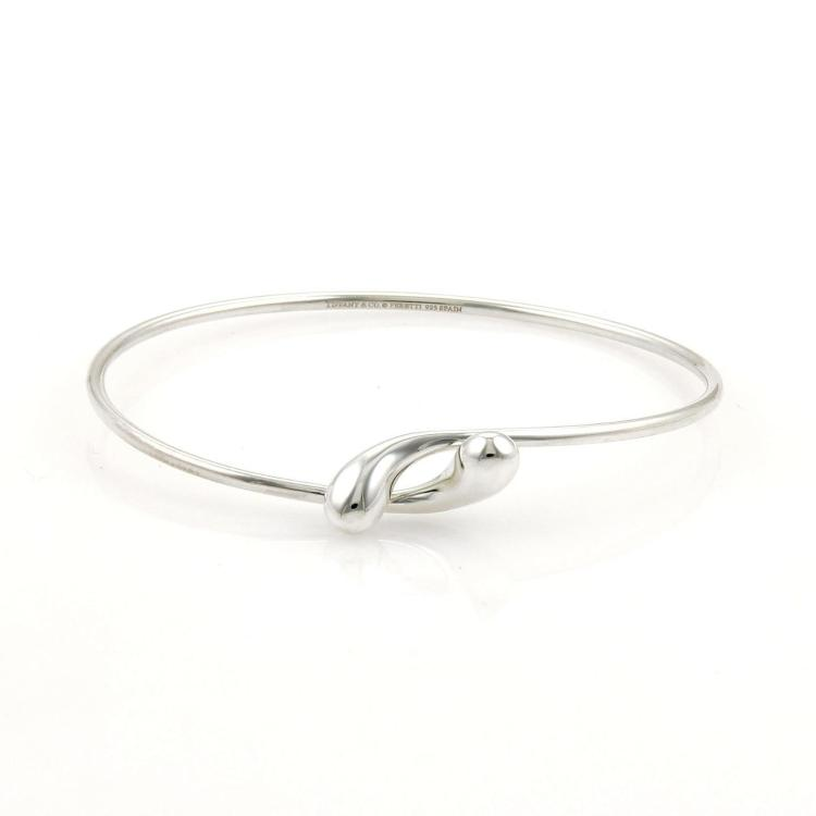 Tiffany & Co. Peretti Sterling Silver Tear Drop Bypass Open Bangle Bracelet