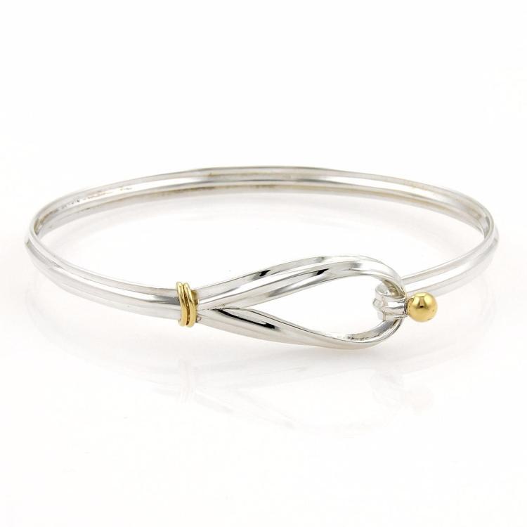 Tiffany & Co. Sterling Silver 18k Yellow Gold Hook & Eye Bangle Bracelet