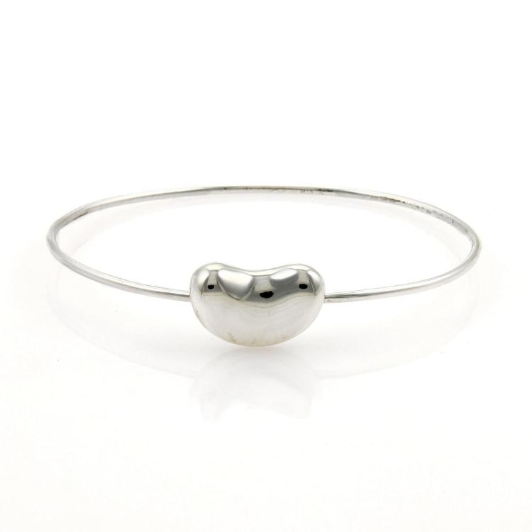 Tiffany & Co. Peretti Sterling Silver Bean Charm Wire Bangle Bracelet