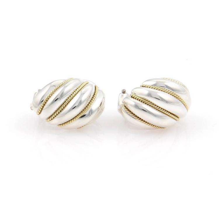 Tiffany & Co. Sterling Silver & 18K Yellow Gold Shrimp Huggie Earrings