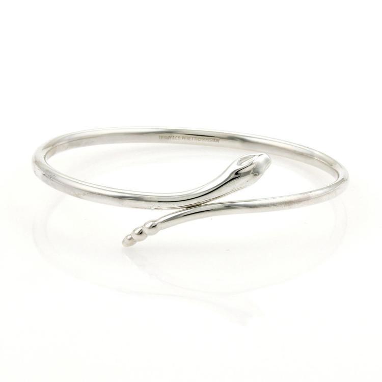 Tiffany & Co. Sterling Silver Bypass Snake Bangle Bracelet