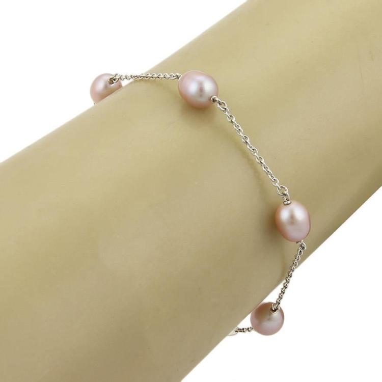 Tiffany & Co. Peretti Pearl by the Yard Bracelet in Sterling Silver Pink Pearls