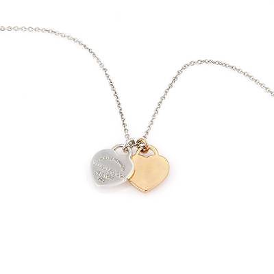 Tiffany & Co. Please Return Silver 18k Yellow Gold Double Heart Pendant Necklace