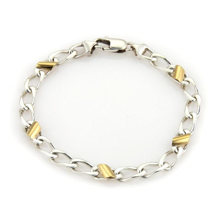 Tiffany & Co. 18k Yellow Gold 925 Sterling Silver Curb Link Bracelet
