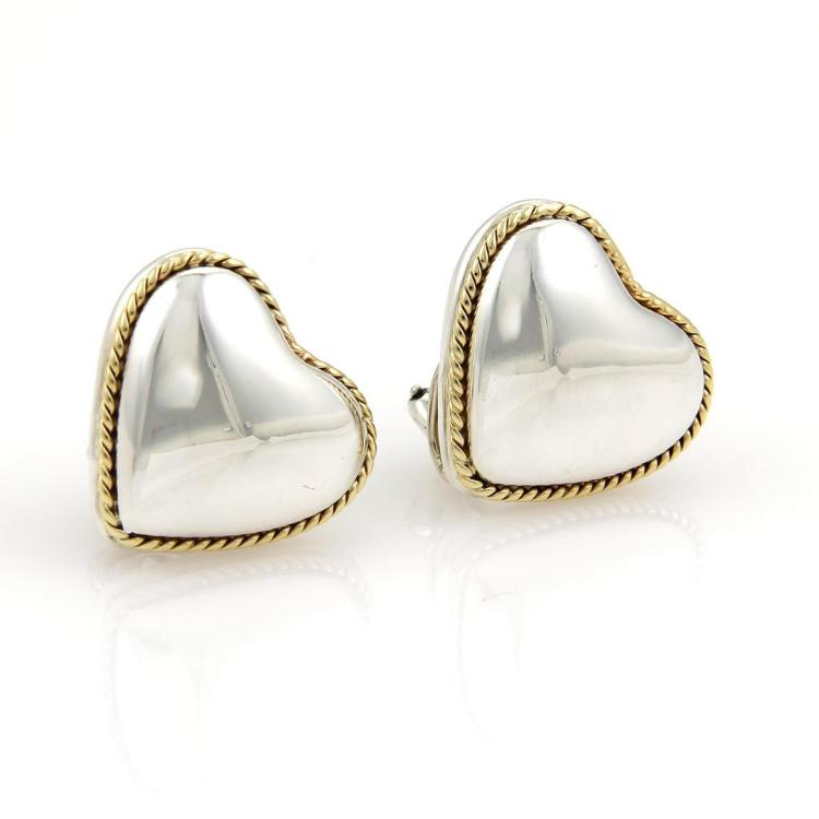 Tiffany & Co. Sterling Silver & 18k Yellow Gold Heart Earrings